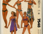 Misses; Bathing Suits and Cover-Up Sewing Pattern - McCall's 7548 - Size 12 - With Extra Patterns for Bra Sizes 10-12-14