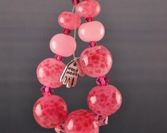 SALE--Fruit Punch-Set of 9 Lampwork glass beads -SRA-OOAK-Handmade-Wysiwyg