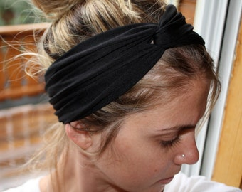 Black Peach Coral Knot Turban Headband Twist Hairband