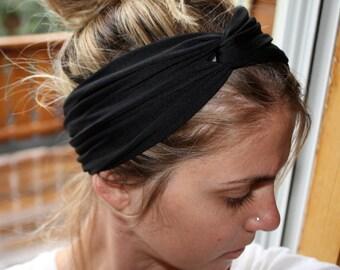 Black Peach Coral Knot Turban Headband Twist Hairband