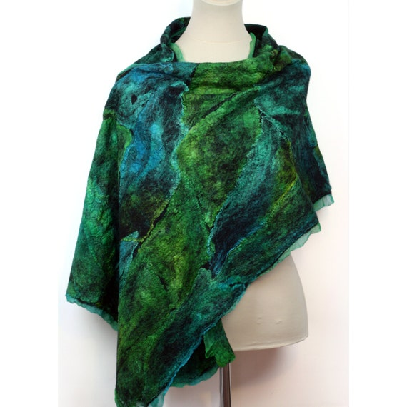 nuno felted dyed silk scarf shawl blue green by zmfelt