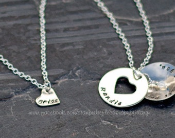 mother daughter heart necklace - Hand Stamped mother daughter necklace with birthstone charms - matching mother daughter necklace