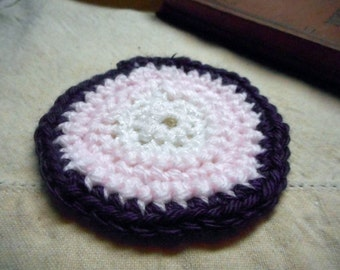 Mini Doll House Handmade Crocheted Round  Rug in lavender, snowy white, pink and orchid. OOAK