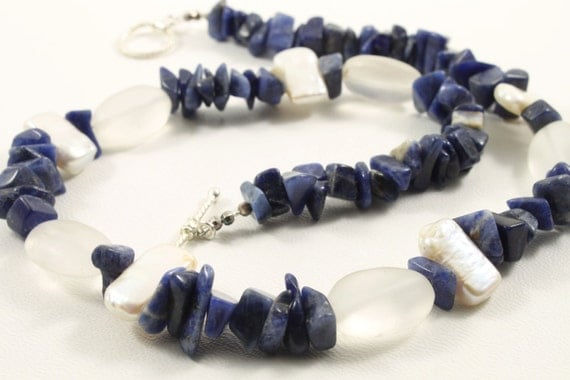 Pearl Sodalite beaded necklace Handmade Trending Christmas Holiday Gift ideas Birthday Birthstone necklace Gift for her Thea