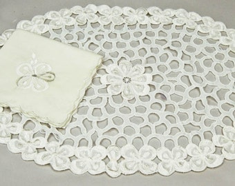 36 Pc Vintage Napkins, Placemats, Plus Extras All Embroidered Cutwork Table Linens in Ivory Service for 12