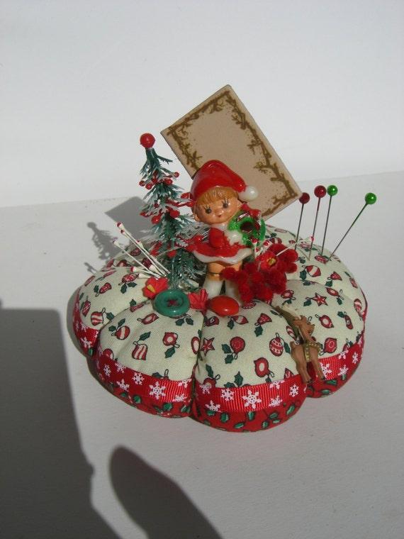 Items similar to sale pincushion christmas pixie