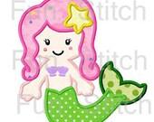 Mermaid applique machine embroidery design instant download