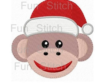 Christmas sock monkey machine embroidery design