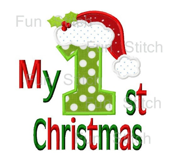 My first christmas applique machine embroidery design from