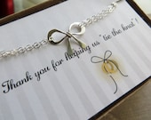 ON SALE Tie the knot bow bracelet - bridesmaid thank you card -  tie the knot bracelet - adjustable