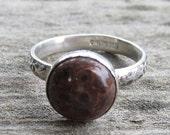 Indianische inspirierte Mohn Jasper Sterling 925er Silber Ring - Größe 7
