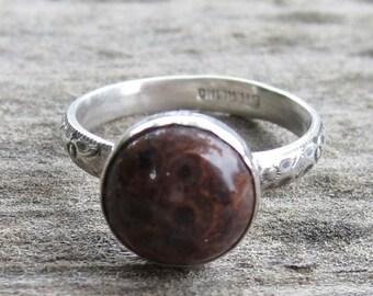Native American Inspired Poppy Jasper Sterling Silver Ring - Size 7