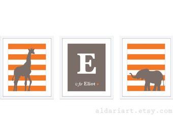 Elephant and Giraffe Nursery Print Set - Custom Initial - African Animals - Baby Boy Nursery Wall Art  - Stripes - Orange and Taupe Brown