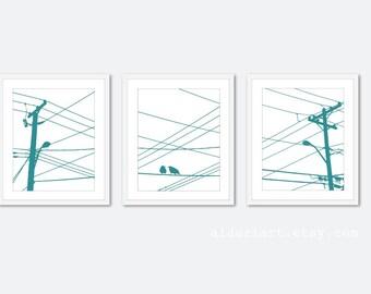 City Birds Prints - Birds on Wires - Birds on Power Lines - Teal Blue - Modern Wall Art - Urban Home Decor - Trio Triptych