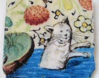Medieval Cat Ceramic Tile