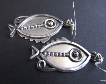 Sterling Modern Studio Fish Earrings