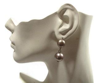 Vintage Slate Gray Pearl Earrings