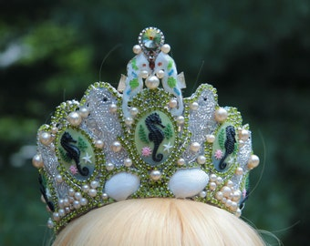 Under the Sea Regal Tiara Encrusted with Seashells, Faux Pearls, Enamel HALLOWEEN SALE