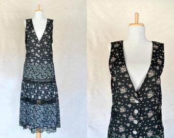 80s 90s floral jumper dress / lace cutout / size 12 / medium