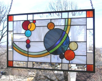 """Galaxy 2 -- 21  1/2"""" x  13  5/8""""-- Stained Glass Window Panel"""