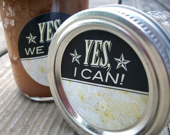 Vintage Yes I Can, Yes We Can canning jar label, round mason jar label, grow your own food victory garden, food preservation, jam jar label