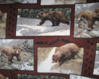 Fleece Blanket with Bears in Frames with Dark Gray - Ready to Ship Now