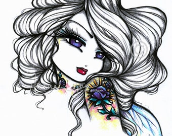Rose Tattoo Sketch Fairy Fantasy Art 8x10 Print Hannah Lynn