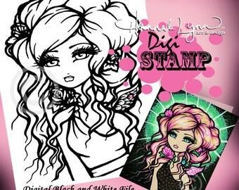 PRINTABLE Angel Digi Stamp Frosted Rose Coloring Page Fun Fantasy Art Hannah Lynn