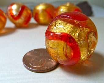 Large Vintage Murano Venetian Gold and Red Glass Bead, 24k Gold Foil encased in Clear Glass, Cherry Red Trails -  Beautiful