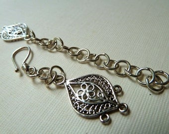 Sterling Silver 3 Strand Hook and Eye Clasp - Ornate Multi Strand Closure - Adjustable Extender Chain - Beautiful Floral Design
