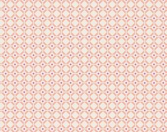 Coral Pink and Purple Geometric Diamond Dot Fabric, Sweet as Honey by Bonnie Christine for Art Gallery Fabrics, Garden Gate Print, 1 Yard