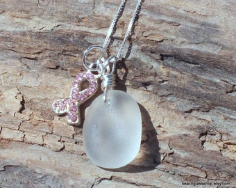 Lake Erie Beach Glass - Sea Glass Necklace - Breast Cancer Awareness -  Lake Erie
