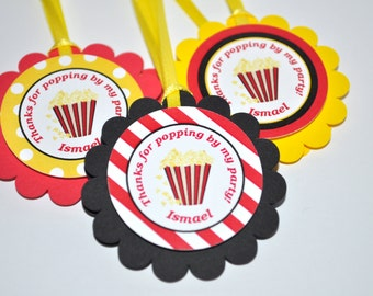 Movie Party Favor Tags, Birthday Favor Tags, Thank You Tags, Movie Night Birthday Party, Treat Bag Tags, Goodie Bag Tags - Set of 12