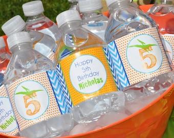 Dinosaur Water Bottle Labels, Boys 1st Birthday, Dinosaur Theme Birthday Party Drink Labels, Dinosaur Birthday Party Decorations - Set of 10