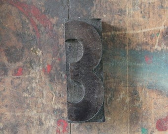 vintage letterpress, wood block stamp, typography, design / number three, 3