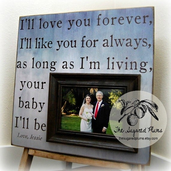 Father Of The Bride Parents Thank You Gift Picture Frame Custom Personalized 16x16 LOVE YOU FOREVER Mother Of The Bride Parents Dad Ombre