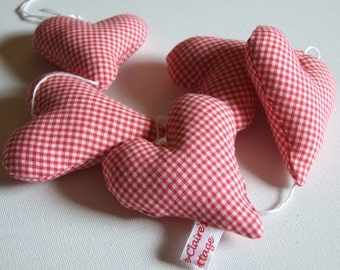 Heart Garland Red Gingham Hangs Vertically Country Style Home Garden Party Decor