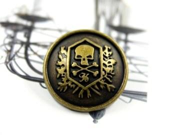 Metal Buttons - Skull Emblem Metal Buttons , Antique Brass Color , Shank , 0.91 inch , 10 pcs