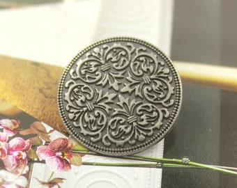 Metal Buttons - Mandala Metal Buttons , Nickel Silver Color , Shank , 0.91 inch , 10 pcs