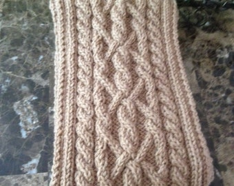 Beautiful cable knit scarf for men, men's hand knitted scarf, wool blend yarn