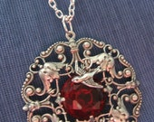 Ornate filigree Oxidized Silver, Red faceted stone Sparrow Pendant (N480)