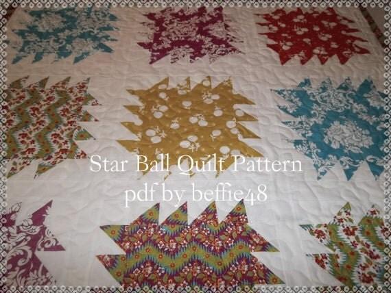 Star Balls, Modern Quilt Pattern Tutorial, pdf