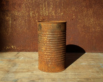Rusty Tin Can / Industrial Decor / Storage Organization / Rusty Object / Rustic Distressed Weathered