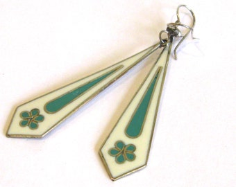 Vintage 60s Mexican Sterling Silver & Shell Inlay Floral Pierced Ear Dangle Earrings