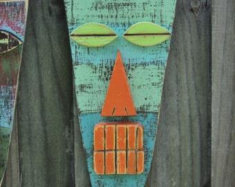 MIAMI, Tiki Mask, Wood Sculpture, Primitive Wall Hanging, Tiki Man, Rustic Beach House, Tiki Bar