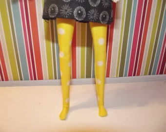 Bright yellow with white polka dots leggins tights for Pullip doll