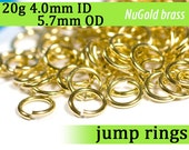 20g 4.0 mm ID 5.7 mm OD NuGold brass jump rings -- 20g4.00 open jumprings jewelry findings supplies links
