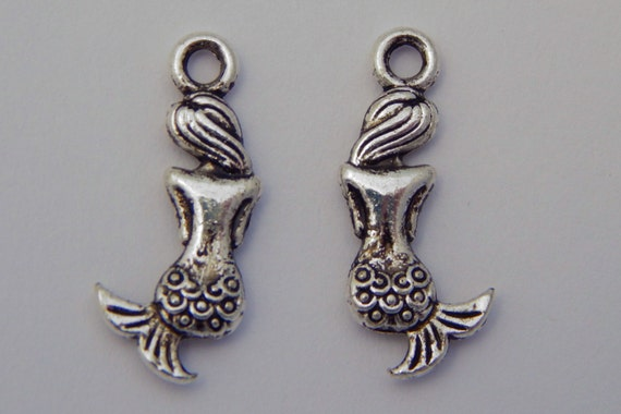 Jewelry Charms - Mermaids, Pendants, Dangles, Sea Life, Metal, Silver Color, 20mm, 10 Pieces