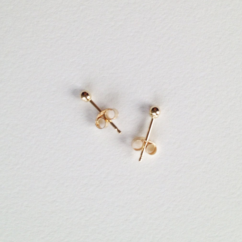 Tiny Gold Ball Post Earrings. 2mm Or 3mm Ball. Solid 14k