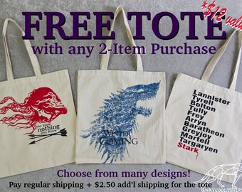 FREE TOTE! With Any 2 Regular Items - Pay only 2.50 for the Additional Shipping! Choose from Many Different Designs. Domestic Orders Only.